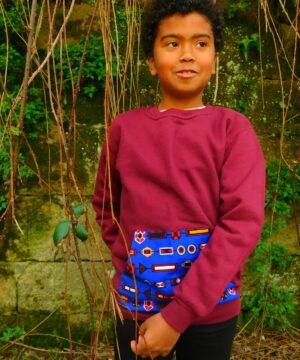 sudadera de algodón para niño, tejido de algodón y tela africana, ropa artesanal con tejidos africanos, ropa infantil y adulto en hondarribia,guipuzcoa
