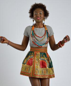 falda veraniega de mujer-ropa artesanal con tejidos africanos, ropa infantil y adulto en hondarribia,guipuzcoa